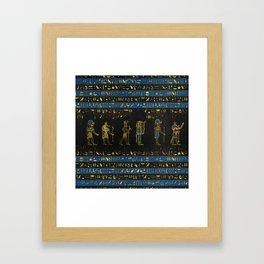 Golden Egyptian Gods and hieroglyphics on leather Framed Art Print