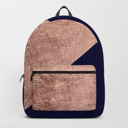 Minimalist rose gold navy blue color block geometric Backpack