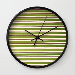 Green Brown Stripes Pattern Wall Clock
