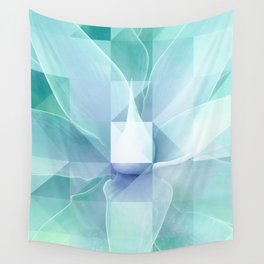 Soft Geo Agave - Aqua and blue Wall Tapestry