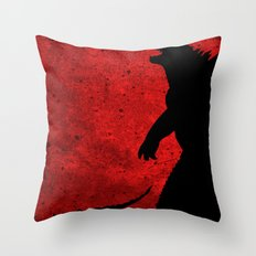 Kaiju red Throw Pillow