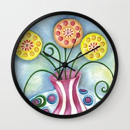 Lollipop Flowers Wall Clock