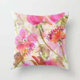 Chinese Brush Flowers Throw Pillow