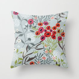 Red Poppies with Blue Throw Pillow