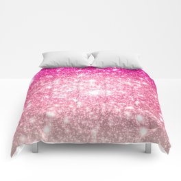 Perfect Pink Ombre Galaxy Sparkle Comforters