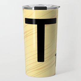 Scrabble T Initial - Large Scrabble Tile Letter Travel Mug