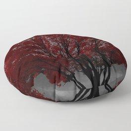 Red Tree, Grey Sky Floor Pillow
