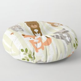 Cute Woodland Forest Animals Floor Pillow