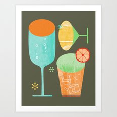 Pour & Drink Kitchen or Bar Art Art Print