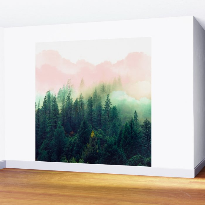 Watercolor mountain landscape Wall Mural