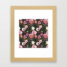 black and pink floral Framed Art Print