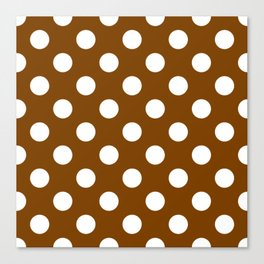 Chocolate (traditional) - brown - White Polka Dots - Pois Pattern Canvas Print