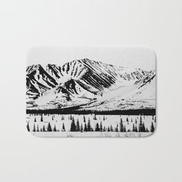 Black and White Mountains Bath Mat