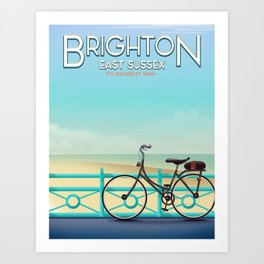 Brighton, East Sussex vintage travel poster. Art Print
