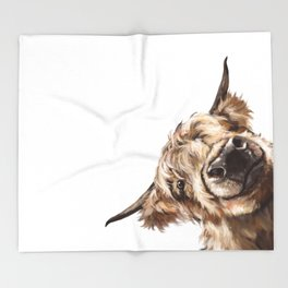 Sneaky Highland Cow Throw Blanket