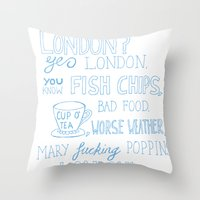 snatch Throw Pillows featuring snatch quote blue by Jordan Coombes