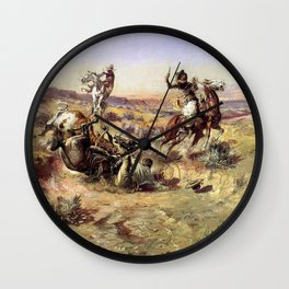 """""""The Broken Rope"""" by Charles M Russell Wall Clock"""