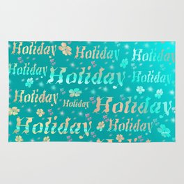 shiny font happy holidays in mint blue Rug