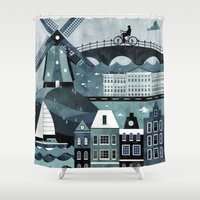travel poster Shower Curtains featuring Amsterdam Travel Poster by ClaireIllustrations