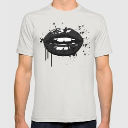 Black and white glamour fashion lips T-shirt