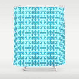 Aqua Blue and White Greek Key Pattern Shower Curtain