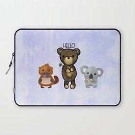 Bear Platypus and Koala Illustration on Purple Laptop Sleeve