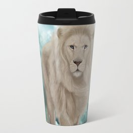 Awesome white lion in the sky Travel Mug