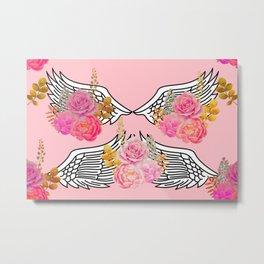 Wings and Roses Blush Pink Metal Print