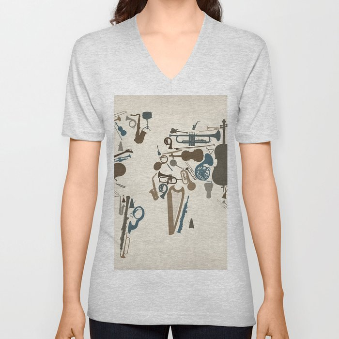 Musical Instruments Map of the World Unisex V-Neck