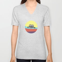 Yummy Colorful Stripes Cute Cartoon Character Unisex V-Neck