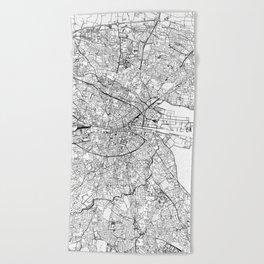 Dublin White Map Beach Towel