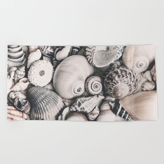 Sea Shell Collection vintage style monochrome Beach Towel