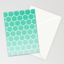 Teal gradient honey comb pattern Stationery Cards