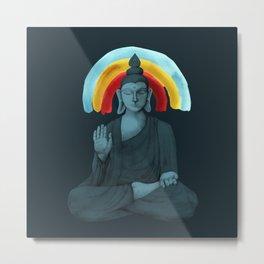Buddha with rainbow - dark Metal Print