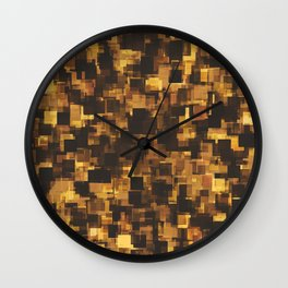 geometric square pattern abstract in brown and black Wall Clock