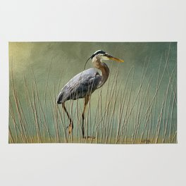 Great Blue At The Beach Rug