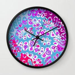 Pink and blue chaos Wall Clock