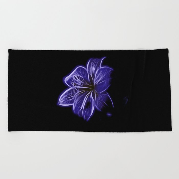 A luminescent flower Beach Towel