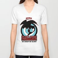 hiccup V-neck T-shirts featuring Black Sheep tournament by Une Belle Pagaille