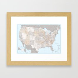 High detail map of the Usa with roads, Keane - ORDER PRINTS IN SIZE XL (small labels) Framed Art Print
