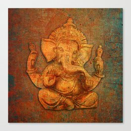 Lord Ganesh On a Distress Stone Background Canvas Print