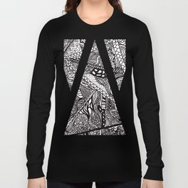 Black white Abstract Paisley doodle geometric pattern Long Sleeve T-shirt