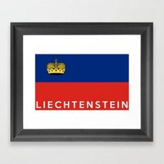 Liechtenstein country flag name text Framed Art Print