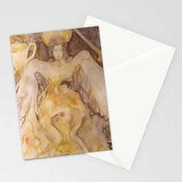 Lovers in gold and purple Stationery Cards