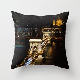 Szechenyi Chain bridge over Danube river, Budapest, Hungary. Throw Pillow