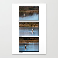 Gone Fishing Triptych White Canvas Print