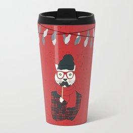 Festive Hipster Cat Travel Mug