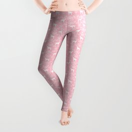 Irish Setter floral dog breed silhouette minimal pattern pink and white dogs silhouettes Leggings