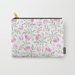 Modern pastel pink green watercolor berries floral Carry-All Pouch