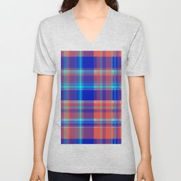 Striped 2X Blue and Red Unisex V-Neck
